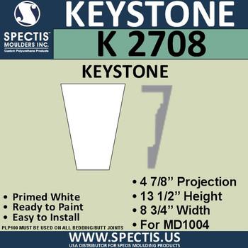 """K2708 Spectis Urethane Keystone 4 7/8""""P X 13 1/2""""H X 8 3/4""""W"""