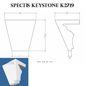 """K2719 Spectis Urethane Keystone 4 1/2""""P X 5 3/4""""H X 5 3/4""""W"""