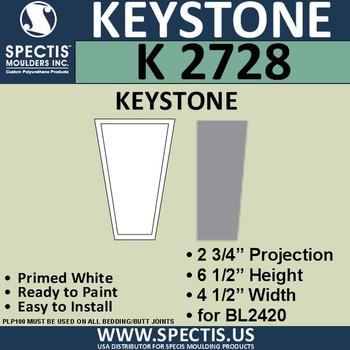 """K2728 Spectis Urethane Keystone 2 3/4""""P X 6 1/2""""H X 4 1/2""""W"""