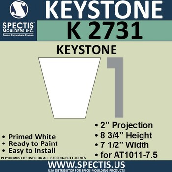 """K2731 Spectis Urethane Keystone 2""""P X 8 3/4""""H X 7 1/2""""W"""