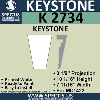 """K2734 Spectis Urethane Keystone 10""""H X 3 1/8""""P X 7 5/8""""W"""