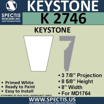 """K2746 Spectis Urethane Keystone 3 7/8""""P X 8 5/8""""H X 8""""W"""