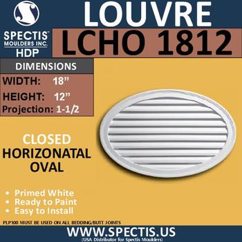 LCHO1812 Horizontal Oval Louver Closed 18 x 12