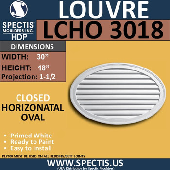 LCHO3018 Horizontal Oval Louver Closed 30 x 18