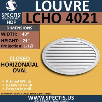 LCHO4021 Horizontal Oval Louver Closed 40 x 21