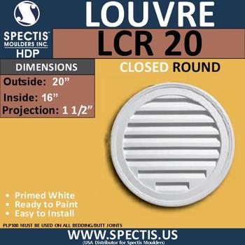 "LCR20 Round Gable Louver Vent - Closed - 20"" Diameter"