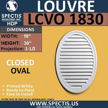 LCVO1830 Oval Gable Louver Vent - Closed - 18 x 30
