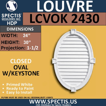 LCVOK2430 Oval with Keystone Closed Louver 24 x 30