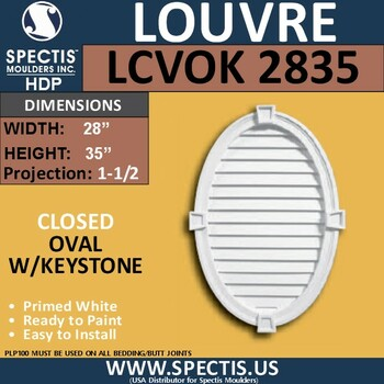 LCVOK2835 Oval with Keystone Closed Louver 28 x 35