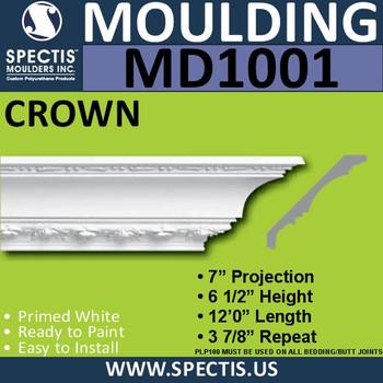 """MD1001 Crown Molding Trim 7""""P x 6 1/2""""H x 144""""L"""
