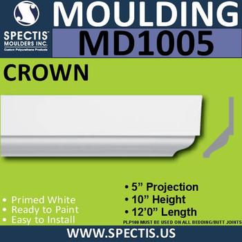 "Crown Fascia Molding Trim  5""P x 10""H x 144""L MD1005"