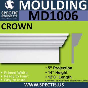 "MD1006 Crown with Base Molding Trim 5""P x 14""H x 144""L"