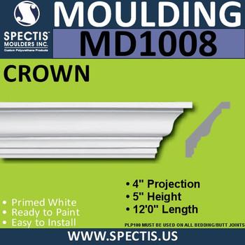 """MD1008 Crown Molding Trim 4""""P x 5""""H x 144""""L"""