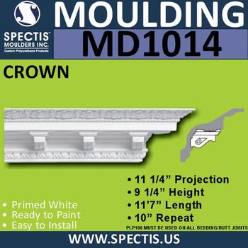 """MD1014 Spectis Crown Molding Dentil Trim 11 1/4""""P x 9 1/4""""H x 139""""L"""