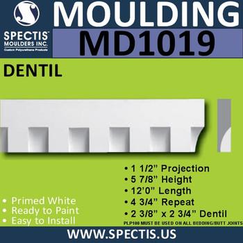 """MD1019 Spectis Molding Dentil Trim 1 1/2""""P x 5 7/8""""H x 144""""L"""
