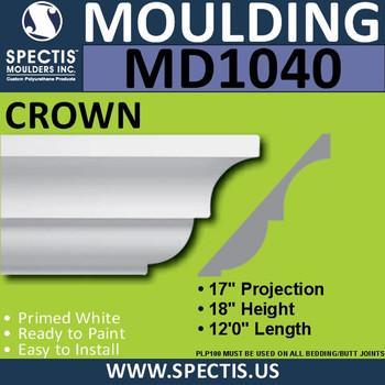 """MD1040 Spectis Crown Molding Trim 17""""P x 18""""H x 144""""L"""