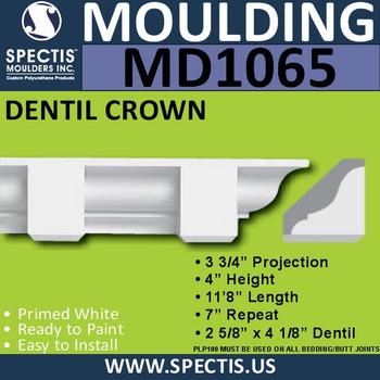 """MD1065 Spectis Crown Molding Dentil 3 3/4""""P x 3 3/4""""H x 141""""L"""
