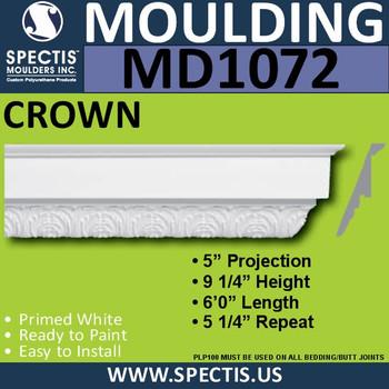"""MD1072 Spectis Crown Molding Trim 5""""P x 9 1/4""""H x 72""""L"""