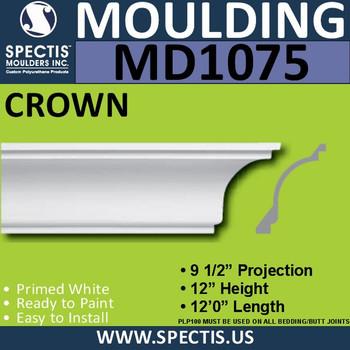"""MD1075 Spectis Crown Molding Trim 9 1/2""""P x 12""""H x 144""""L"""