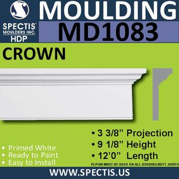 """MD1083 Spectis Crown Molding Head 3 3/8""""P x 9 1/8""""H x 144""""L"""
