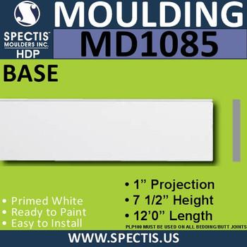 """MD1085 Spectis Molding Base Trim 1""""P x 7 1/2""""H x 144""""L"""
