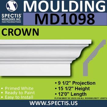 """MD1098 Spectis Crown Molding Trim 9 1/2""""P x 15 1/2""""H x 144""""L"""