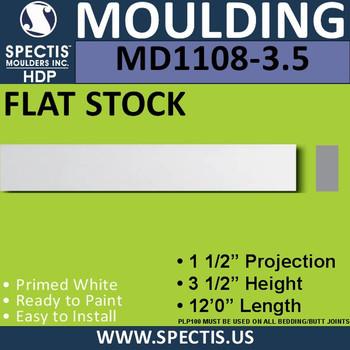 """MD1108-3.5 Spectis 1-1/2"""" Flat Trim 1 1/2""""P x 3 1/2""""H x 144""""L"""