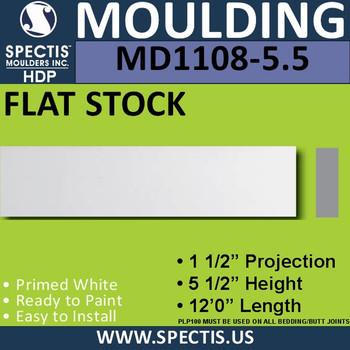"""MD1108-5.5 Spectis 1-1/2"""" Flat Trim 1 1/2""""P x 5 1/2""""H x 144""""L"""