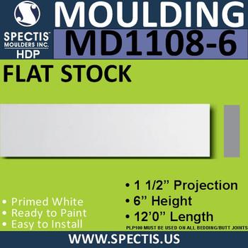 """MD1108-6 Spectis 1-1/2"""" Flat Trim 1.5""""P x 6""""H x 144""""L"""