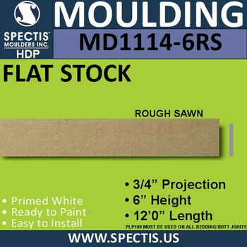 "MD1114-6RS Spectis 3/4"" Flat Trim 3/4""P x 6""H x 144""L"