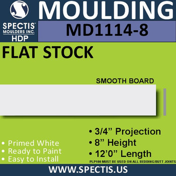 """MD1114-8 Spectis 3/4"""" Flat Trim 3/4""""P x 8""""H x 144""""L"""