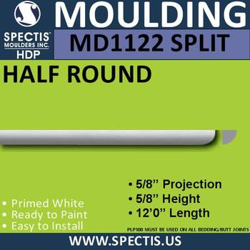 """MD1122 SPLIT Spectis Quarter Round Trim 5/8""""P x 5/8""""H x 96""""L"""
