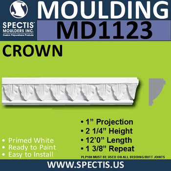 """MD1123 Spectis Crown Molding Trim 1""""P x 2 1/2""""H x 96""""L"""
