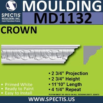 """MD1132 Spectis Crown Molding Trim 2 3/4""""P x 2 3/4""""H x 142""""L"""