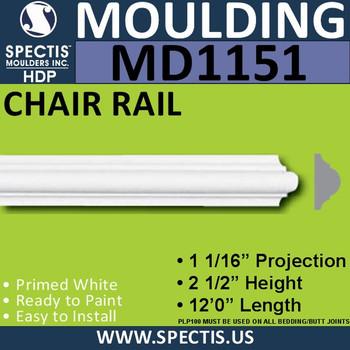 "MD1151 Spectis Molding Nose Trim 1 1/16""P x 2 1/2""H x 144""L"