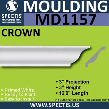 """MD1157 Spectis Crown Molding Trim 3""""P x 3""""H x 144""""L"""
