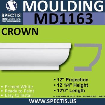 """MD1163 Spectis Crown Molding Trim 12""""P x 12 1/4""""H x 144""""L"""
