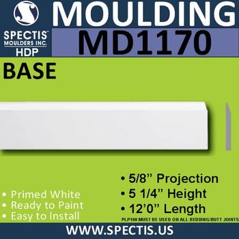 """MD1170 Spectis Molding Base Trim 5/8""""P x 5 1/4""""H x 144""""L"""