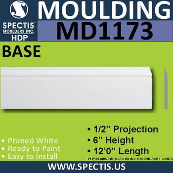 """MD1173 Spectis Molding Base Trim 1/2""""P x 6""""H x 144""""L"""