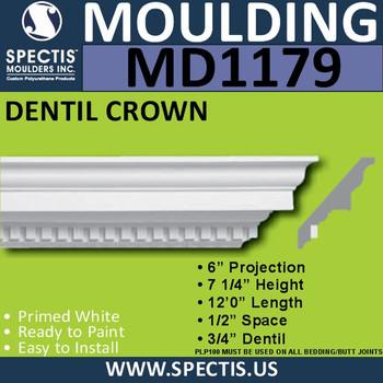 """MD1179 Spectis Crown Molding Trim 6""""P x 7 1/4""""H x 144""""L"""
