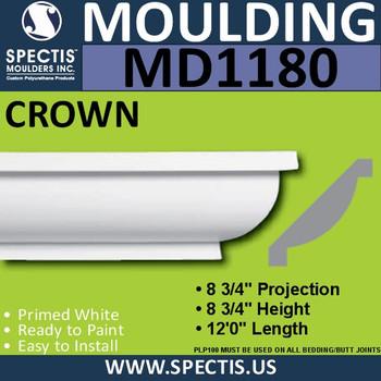"""MD1180 Spectis Crown Molding Trim 8 3/4""""P x 8 3/4""""H x 144""""L"""