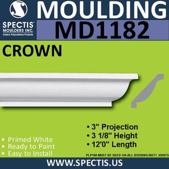 """MD1182 Spectis Crown Molding Trim 3""""P x 3 1/8""""H x 144""""L"""