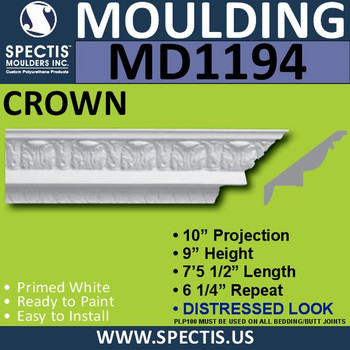 """MD1194 Spectis Crown Molding Distressed 10""""P x 9""""H x 89 1/2""""L"""