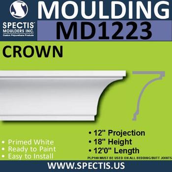 """MD1223 Spectis Crown Molding Trim 12""""P x 18""""H x 144""""L"""