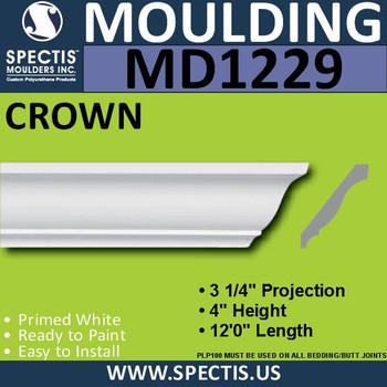"""MD1229 Spectis Crown Molding Trim 3 1/4""""P x 4 1/8""""H x 144""""L"""