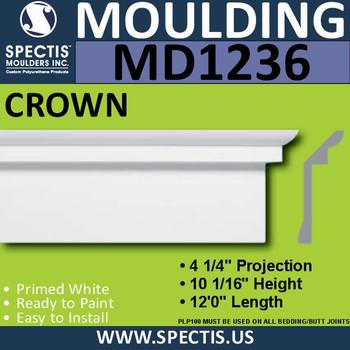 """MD1236 Spectis Crown Molding Trim 4 1/4""""P x 10 1/16""""H x 144""""L"""