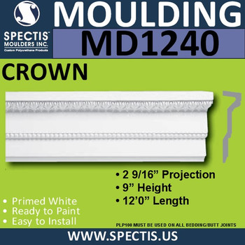"MD1240 Spectis Crown Molding Trim 2 9/16""P x 9""H x 144""L"