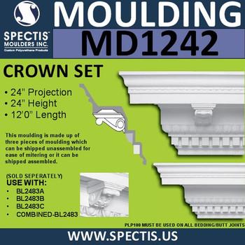 """MD1242 Spectis 5 Piece Crown Molding 24""""P x 24""""H x 144""""L"""
