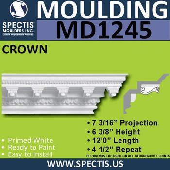 "MD1245 Spectis Crown Dentil 7 3/16""P x 6 3/8""H x 11' 6 3/4""L"