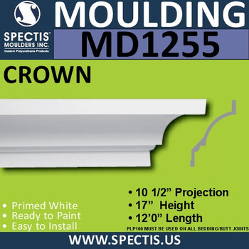 """MD1255 Spectis Crown Molding Trim 10 1/2""""P x 17""""H x 144""""L"""